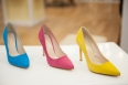 Suede pointy toe pumps by Nine West in jewel tones.